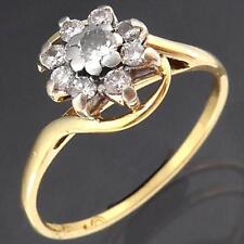 Vintage 1980's Solid 18k Yellow GOLD 9 DIAMOND ROUND DAISY CLUSTER RING Sz O