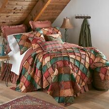 Donna Sharp Campfire Plaid Quilted Rustic Country Twin 3-Piece Bedding Set