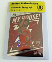 Coby White Signed Chicago Bulls Donruss Optic Authentic Beckett Bulls 004111