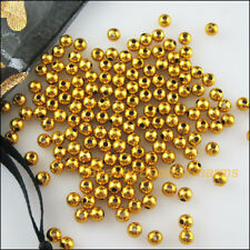 150Pcs Gold Plated Plastic Acrylic Round Ball Space Beads Charms 6mm