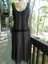 VERA WANG Couture BLACK ILLUSION tulle MESH sequin DRESS nude lined NEW! 10  M/L