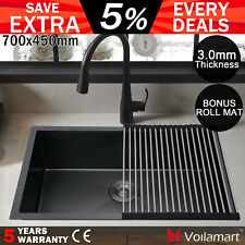 Stainless Steel Kitchen Sink 700x450mm Handmade Topmount Laundry Bowl Black