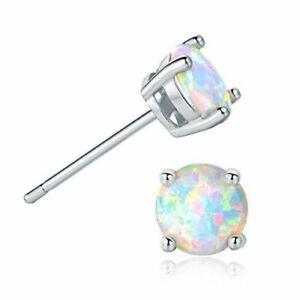 Sterling Silver Stamped OPAL Stud Crown BLUE/ WHITE OPAL Earrings Men Women Gift