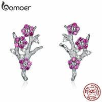 BAMOER Real Women S925 Sterling silver Stud Earrings Wintersweet With CZ Jewelry