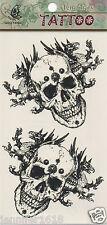 Sticker Tatouage Autocollant Temporaire Tattoo GF511 tête de mort noir