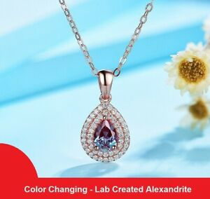 1.00ct Lab Alexandrite Gemstone Pendant Necklace 925 Sterling Silver Rose Gold