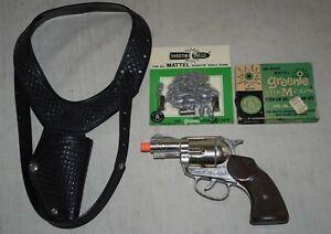 Vintage Mattel Shootin' Shell Snub Nose .38 Cap Gun with Holster - 38