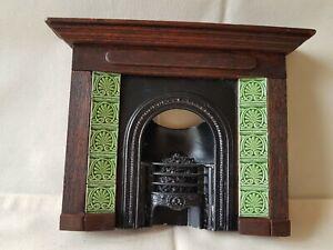 Dolls house artisan James Parker tiled fireplace with metal fire basket