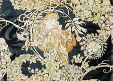 Woman with Daisies, Alphonse Mucha nouveau art canvas print