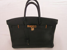 03cdd7fe60de Hermes Birkin 35 Black Togo Leather Handbag - Gold Hardware
