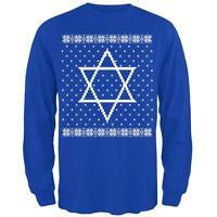 Big Star of David Ugly Hanukkah Sweater Mens Long Sleeve T Shirt