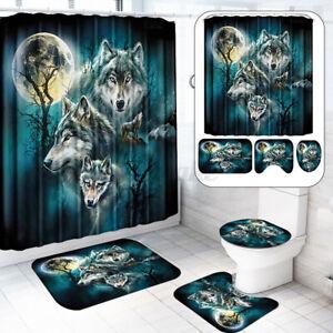 Wolf 12 Hooks Shower Curtain Set Polyester Waterproof Bathroom Decor   G