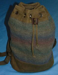 "Pendleton Spirit Seeker Wool/Canvas/Leather Bucket Backpack 19"" x 15""  EUC"