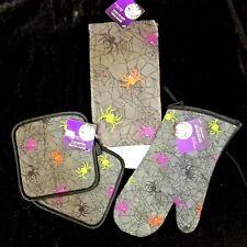 Spooky Halloween-HAND TOWEL POT HOLDER OVEN MITT-Haunted House Kitchen Decor-SET