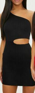 PRETTY LITTLE THING Black One Shoulder Cut Out Bodycon Dress   (jojo19)