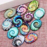 20 Piece Fractal Photo Oval Glass Cabochon Flatback Pendant DIY Jewelry Findings