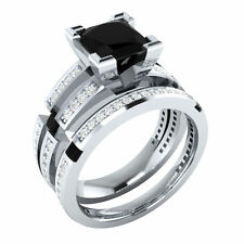 Certified 3.20Ct Black Princess Cut Diamond Anniversary Ring Set 14K White Gold