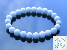Angelite Natural Gemstone Bracelet 7-8'' Elasticated Healing Stone Chakra Reiki