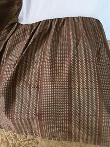 Chaps Ralph Lauren Summerton Brown  Houndstooth Plaid King Bed Skirt