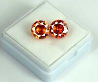 Natural Orange Sapphire Gemstone Matching Pair 8 Ct Round AGSL Certified 2 Pcs