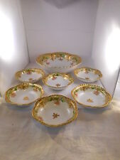 Antique or Vintage Serving Bowl w/ 6 Individual Berry Bowls, Nippon, Heavy Gold