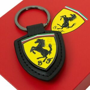 Ferrari Official Leather Fob Badge Keyring