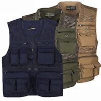 Men's Outdoor Multi-Pocket Sleeveless Vest Waistcoat Photography Zip Mesh Jacket