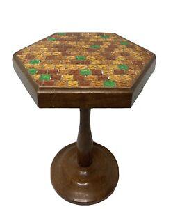 """Vintage Art Deco plastic wooden Hexagon end table homemade unique 16"""""""