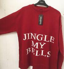 CHEEKY RED CHRISTMAS JUMPER * 18 * NEW * JINGLE MY BELLS * BNWT * WHITE * BOOHOO