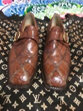 David Eden Men's Exotic Crocodile/Alligator Brown  Dress Shoes Size 8.5 Italy