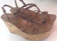 "PRADA ""Cannella"" Strappy Knot Cork Wedge Sandal Brown Size 39.5 9-9.5"
