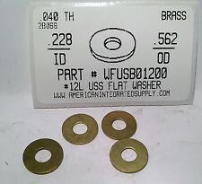 "#12L Flat Washers Solid Brass .228""IDx.562""ODx.040""TH (50)"