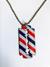 BARBER JEWELRY RAZOR BLADE CROSS PENDANT Necklace Steel Painted USA