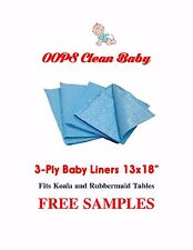 "Changing Station Baby Liners 500 18x13"" Blue 3Ply Koala Generics Free Samples"