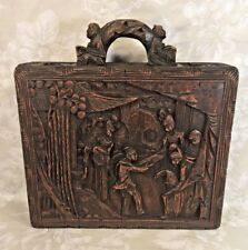 Ant Chinese Carved Wood Wax Stamp/ Seal Storage Case Ornately Done Wood Handle