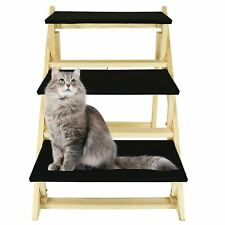 Foldable Pet Dog Cat 3 Step Ladder Ramp Heavy Duty Strong Folding Non Slip Home