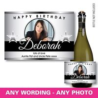 PERSONALISED champagne PROSECCO photo bottle label birthday any occasion 144