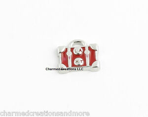 10pc Lot Red Luggage Purse Silver Tone Floating Charm For Glass Memory Locket