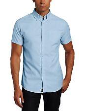 Men's Lee Blue Oxford Shirt Button Down Short Sleeve Uniform Sizes S to 2XL
