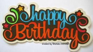 Birthday boy paper piecing title premade scrapbook page Rhonda rm613art