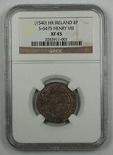 1540 HR Ireland 4P Silver Groat Coin S-6475 Henry VIII NGC XF 45 AKR