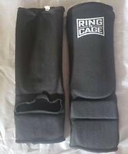 Ring to Cage Slip On Cloth Shin Guard Black Large Muay Thai Kick Boxing Mma