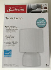 SUNBEAM TABLE LAMP LED LIGHTS INCLUDED BULB SWITCH ON/OFF ON CORD NIB WHITE