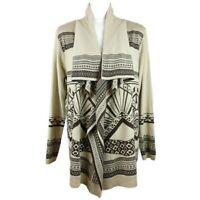 Aztec Southwestern Cardigan Size L Sweater Open Waterfall Beige Brown