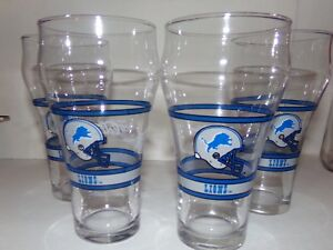 SET OF 4 DETROIT LIONS NFL FOOTBALL COCA COLA GLASSES! SWEET COLLECTIBLE! LOOK!