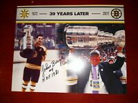 """Boston Bruins John Bucyk #9 H.O.F 1981 Autographed """"39 Years Later"""" 8x10"""