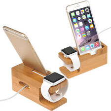 1Pcs Bamboo Charging Dock Station Charger Holder Stand for Apple Watch iPhone 6