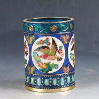 Chinese Cloisonne Handwork Carved Magpie Pen Holder