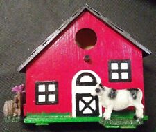 Hand Painted Wooden Barn Birdhouse With Cow And Rooster