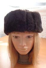 EXCELLENT BROWN CLOTH (FAUX / FAKE FUR) HAT CAP WOMAN WOMEN SIZE ALL